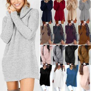 Details zu Damen Strick Pullover Kleid Langarm Sweatshirt Pulli Sweater Longshirt Long Tops