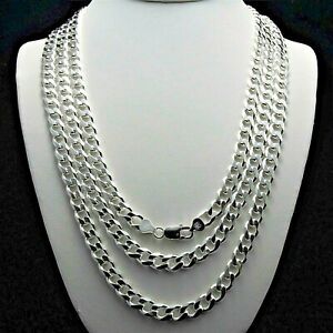 Heavy-8-3mm-Solid-925-Sterling-Silver-Cuban-Link-Curb-Chain-Necklace-18-20-24-30