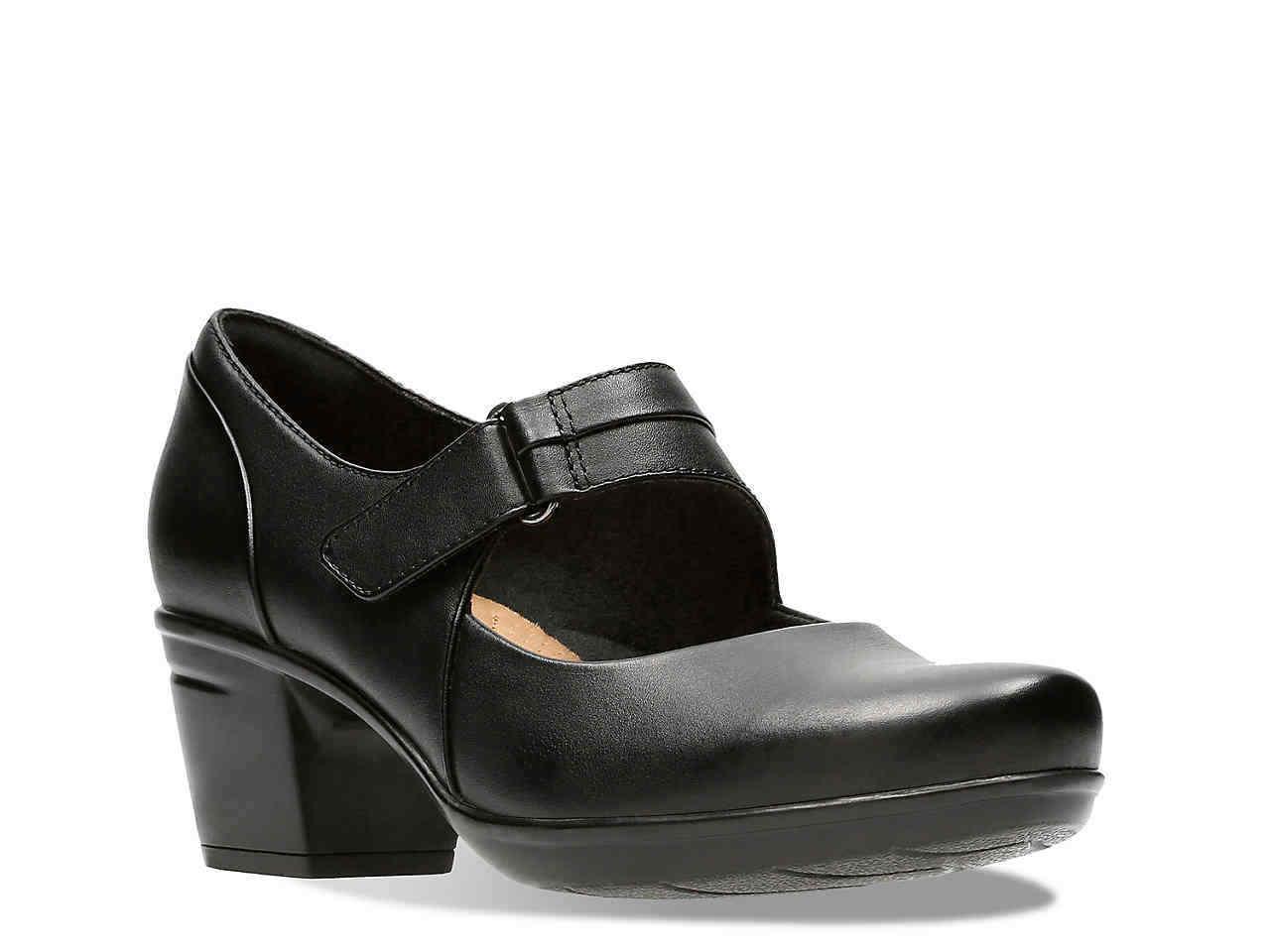 Clarks EMSLIE LULIN Womens Black Leather 29221 Hook & Loop Closure Pump Heels