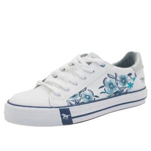 Mustang Zapatos Mujer 1313-303-18 Zapatillas Zapatos Cordones Blanco Azul