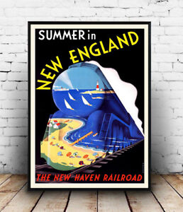 New-England-Vintage-Travel-advert-poster-Wall-art-poster-reproduction