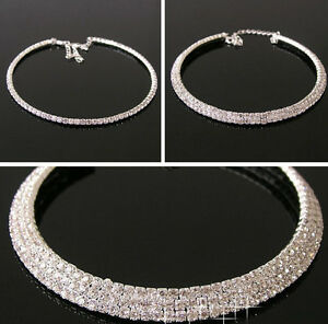 Silver-clear-diamante-crystal-Rhinestone-Necklace-Choker-wedding-party-chain