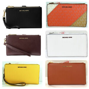 Michael Kors Jet Set Travel Pebble Leather Double Zip Phone Case Wristlet Wallet