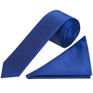 Plain Royal Blue Satin Skinny Boys Tie and Pocket Square Set Wedding Tie