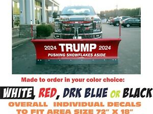 TRUMP 2020 Snow Plow Decals ANY COLOR for your  Meyer Fisher Western Boss Curtis