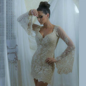 Image is loading Champagne-Wedding-Dresses-Long-Sleeves-Beading-Sequins-V- 78f38b779