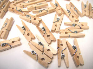 150 Natural Wooden Mini Pegs Craft Wood 25mm