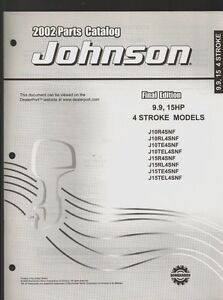 Details about 2002 JOHNSON 9 9, 15HP 4 STROKE OUTBOARD PARTS MANUAL