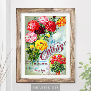 Image Is Loading VINTAGE FLOWERS Art Print Poster Garden Plants Painting