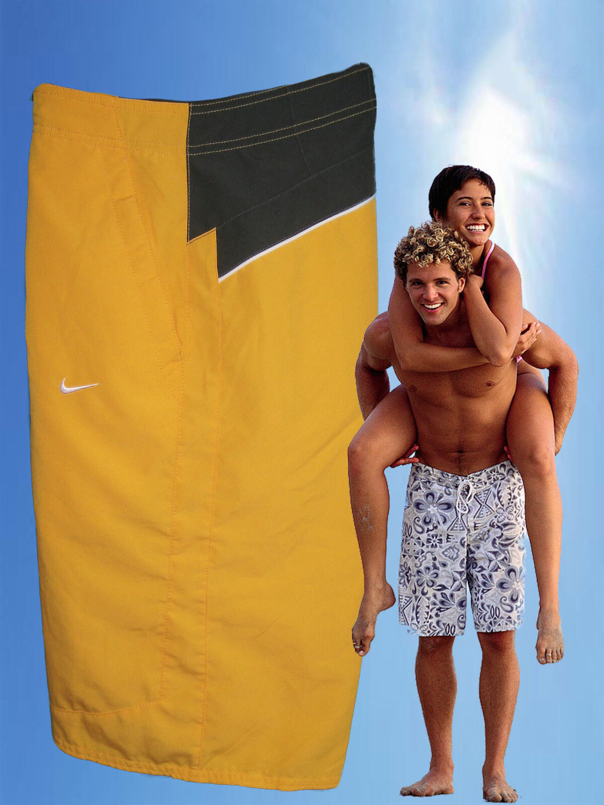 NEW NIKE AD Athletic Dept Active Beach Water Sports Board Shorts Yellow & Grey M