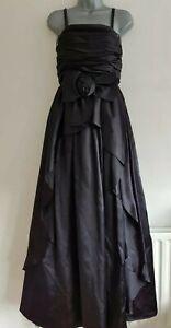 JOHN-CHARLES-Femmes-Noir-Satin-baleine-corsage-plisse-robe-de-bal-robe-Taille-UK-14