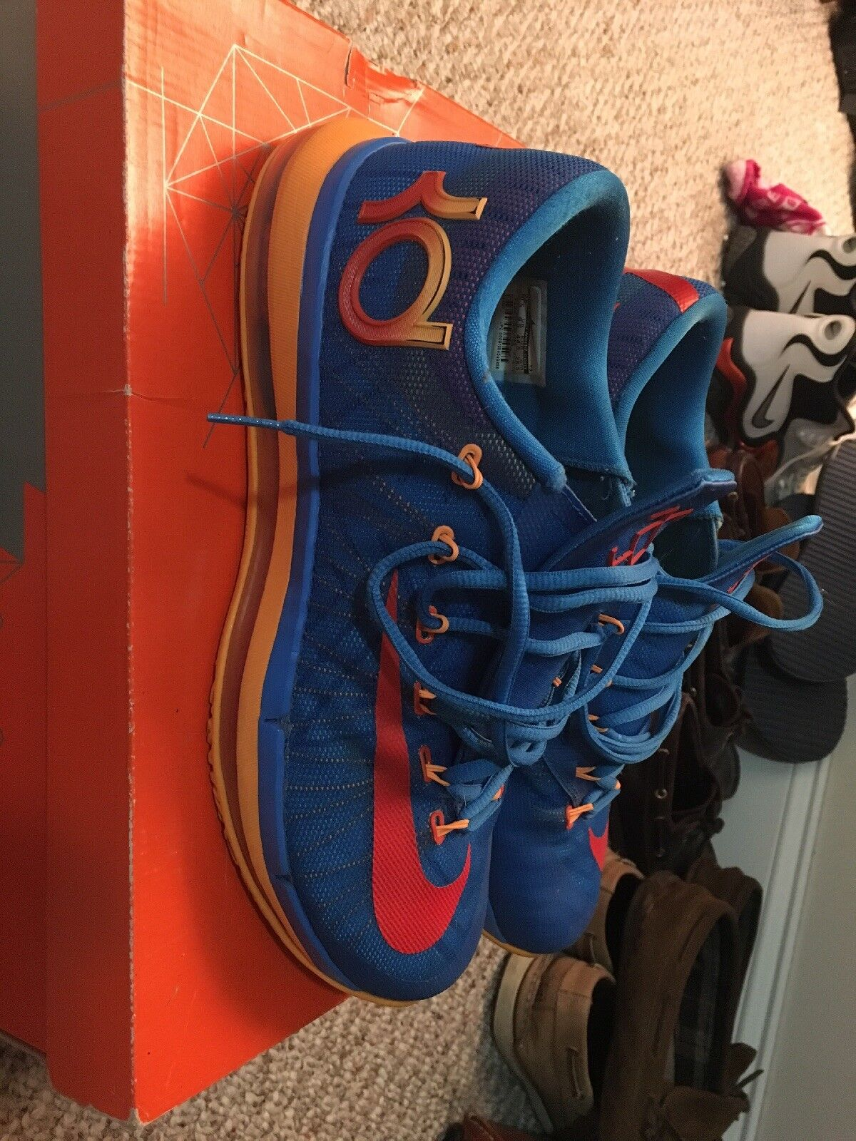 Nike Basketball Elite Series KD 6 Elite Men's 12 Blue Team Atomic Mango Shoes
