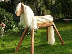 120cm haflinger holzpferd holzpony voltigierpferd spielpferd pony lasiert neu ebay. Black Bedroom Furniture Sets. Home Design Ideas