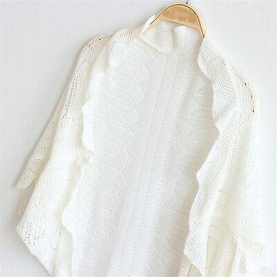 Plus Size XXL Summer Women Fashion Knitted Shrug Wrap Bolero Lace Casual Shawl F