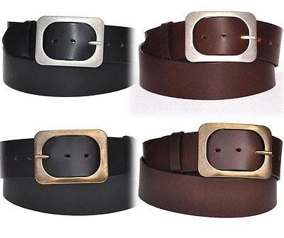Pieno Pelle Cintura Belt Larga 5cm Nero O Marrone Lunghezza Selezionabile 80 A 150cm-mostra Il Titolo Originale