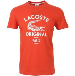 LACOSTE-ORIGINALE-PARIS-stampa-t-shirt-Arancione-Small-Medium-Large-S-M-L-XL