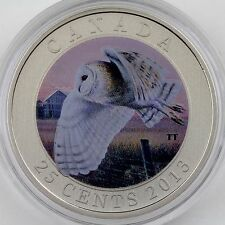 """2013 Barn Owl - 25-cent Colored Specimen Coin – """"Birds of Canada"""" Series"""