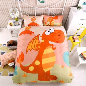 Image Is Loading Cartoon Dinosaur Fire Dragon Duvet Cover Bedding Set