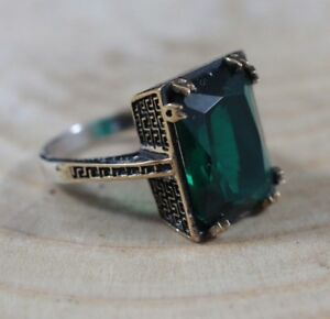 Turkish Emerald Ring 925 Sterling Silver Handmade Authentic Size 6,7,8,9,10