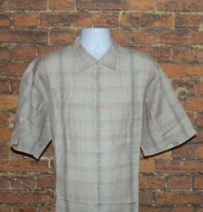 Geoffrey-Beene-Mens-Size-XL-Linen-Rayon-Short-Sleeve-Plaid-Button-Front-Shirt