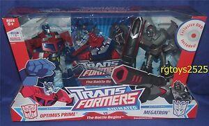Transformers Animated Deluxe Class Cyberton Optimus Prime vs Megatron Nouveau 2007 653569296065
