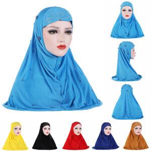 Cap-Full-Cover-Ice-Silk-Islamic-Muslim-Scarf-Headscarf-Pearls-Hijab-Turban