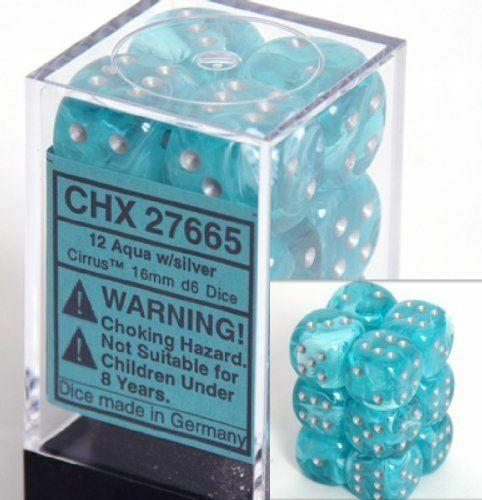 16 MM D6 Dés 12 bloc Cirrus Aqua avec Argent