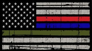 Image Is Loading Thin Blue Red Green Line American Flag Distressed