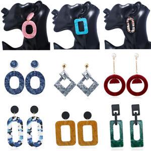 Fashion-Women-Acrylic-Geometric-Pendant-Dangle-Hoop-Statement-Earrings-Jewelry