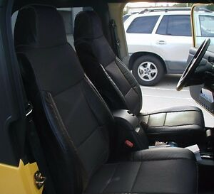 jeep wrangler 2003 2006 black iggee s leather custom made fit seat cover ebay. Black Bedroom Furniture Sets. Home Design Ideas