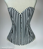 Corset Black & White Over Bust Victorian Steampunk Laced Back Corset