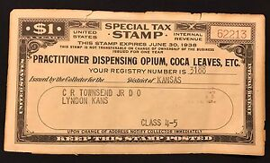 OPIUM Coca Leaves 1$ Special Tax Stamp & Inventory of Opium Form 1938, Lyndon Ks