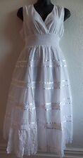 Maxi Dress 3X Plus White Cotton Lace Empire Waist V neck Embroidery Sundress 107