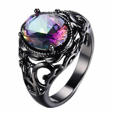 925 Silver Black Gold Rainbow Topaz Man Women Ring Wedding Jewelry Size 6-10