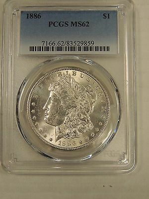 1886 P Morgan Silver Dollar PCGS MS62 # 9859