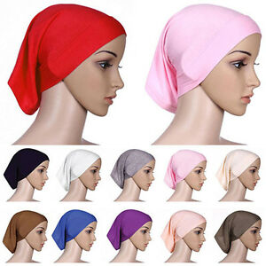 Hijab-Sous-Tete-Coton-Echarpe-Bonnet-Musulman-Housse-Islamique-Fantaisie-Cadeau