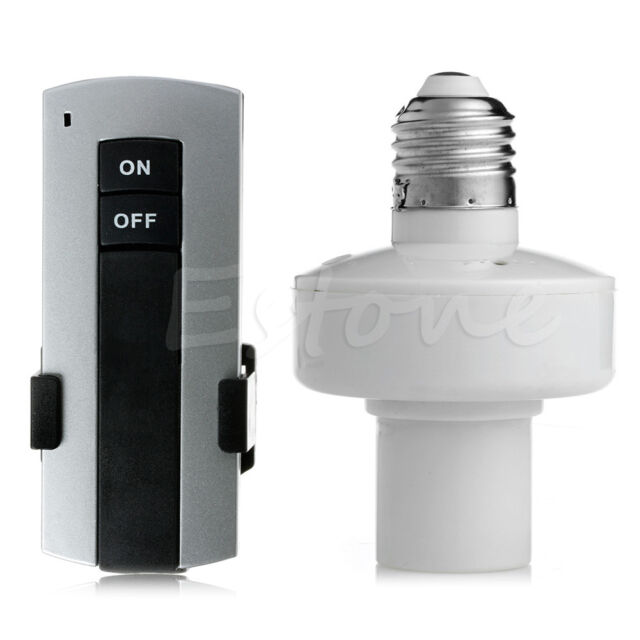 E27 Screw Wireless Remote Control Light Lamp Bulb Holder Cap Socket Switch New