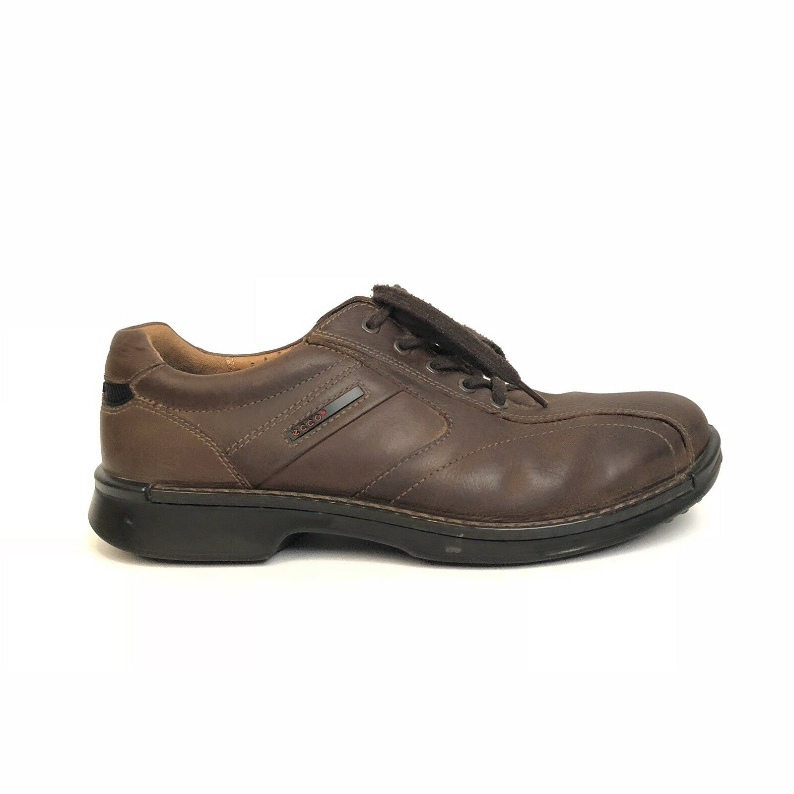 Ecco Uomo Casual Scarpe Taglia 45 Pelle marrone Lace Up Ecco Light Shock Point