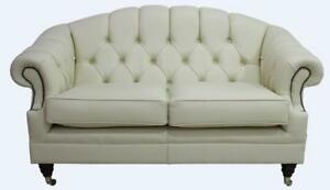 Image Is Loading Chesterfield Victoria 2 Seater Shelly Cottonseed Cream  Leather
