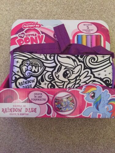 "PURPLE RAINBOW DASH NEW /"" MY LITTLE PONY/"" SCRIBBLE ME HANDBAG"