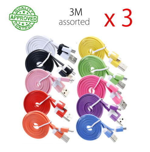 3 x 3M Samsung Mirco USB Data Sync Charger Flat Cable