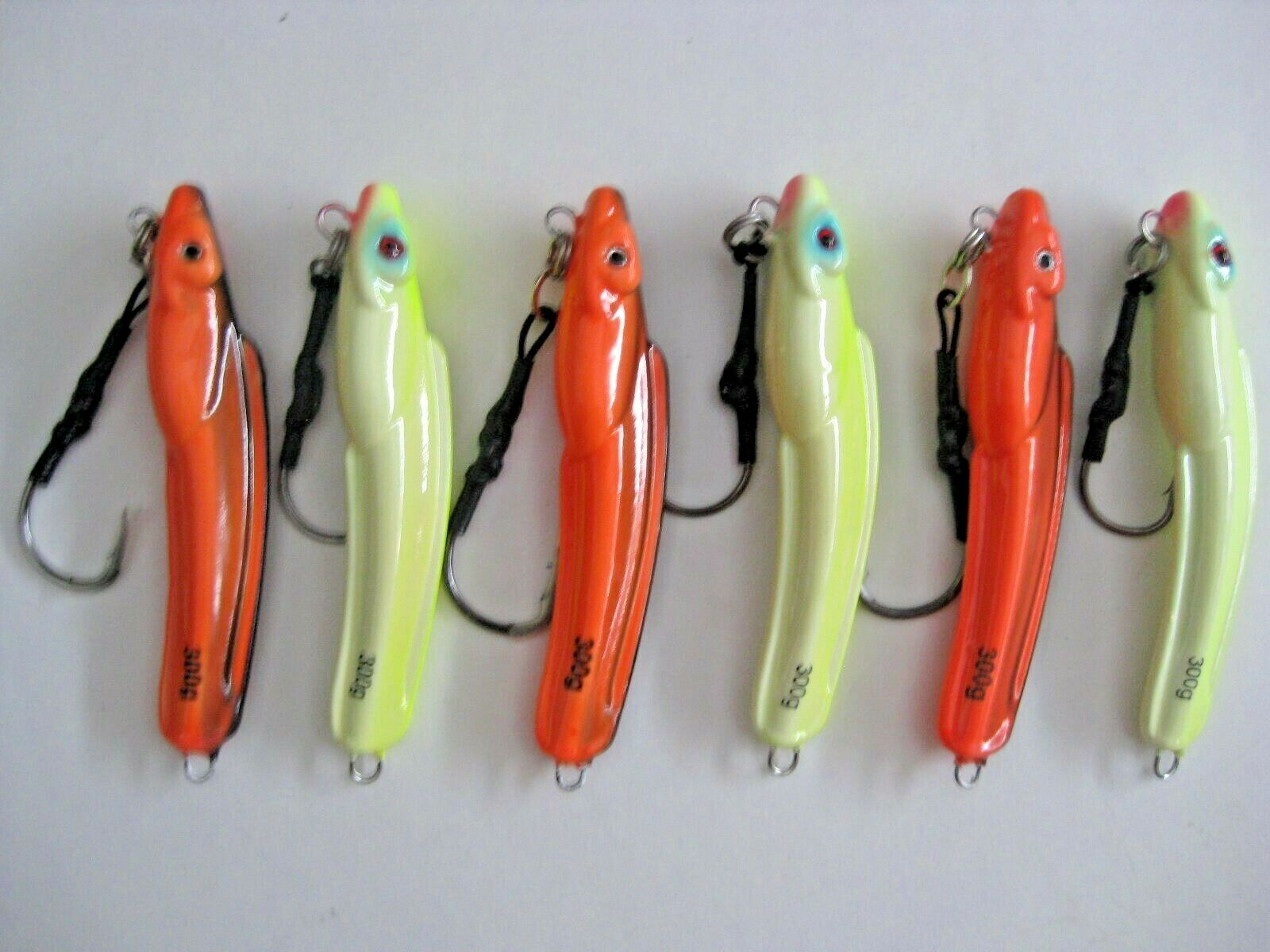 LOT  6  greenICAL EEL JIGS 10oz  300g JIG SPEED JIGGING SALTWATER  AJ's
