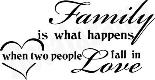 Medium FAMILY HAPPENS TWO PEOPLE IN LOVE Kitchen//Room//Door//Wall Art Sticker