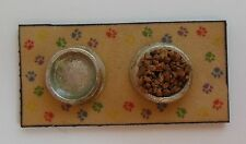 Dollhouse Miniatures Handcrafted set dog dishes - pretend food & water on mat