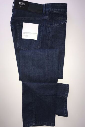 NWT $178 Hugo Boss Men/'s Albany Relaxed Fit Cotton Navy Denim Jeans Size 32//32