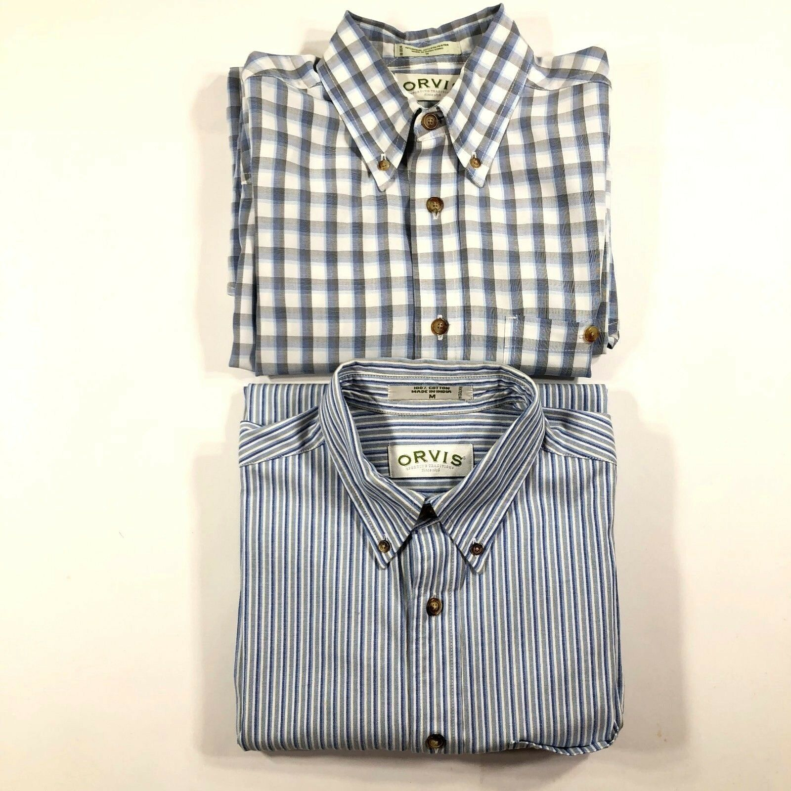 283d943dda Lof of 2 Orvis Mens M Cotton Modal Button Down Oxford Shirts L S Plaid  Striped