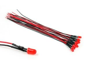 Litze LED für 12-16V S990-10 Stück LEDs 3mm rot klar mit Kabel