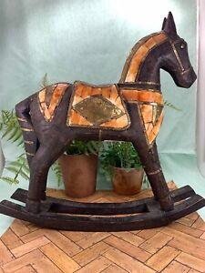 Vintage Hand Carved Wood Rocking Horse Hammered Brass Bovine Bone Inlay Ebay