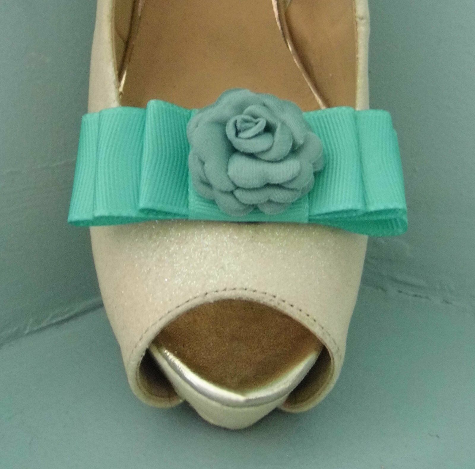 2 Deep Mint Green Bow Clips for Shoes with Flower Centre