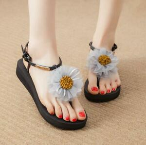 Sweet Women Floral National style Sandals clip toe Wedge Heel Boho Beach Shoes